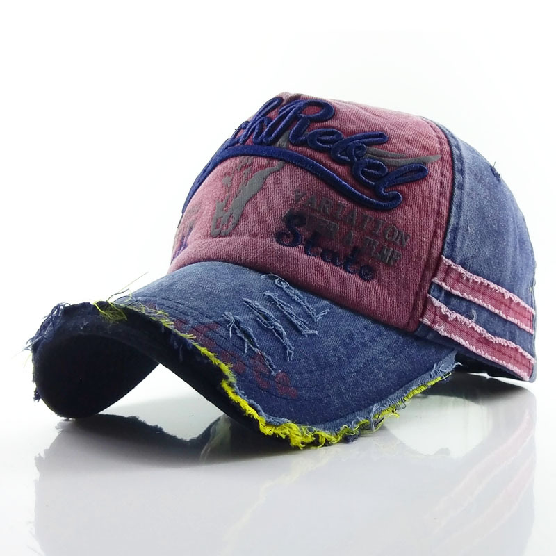 New vintage Men's Denim Baseball Caps with cow-head print and embroidered letterwork style outdoor sports sun hats