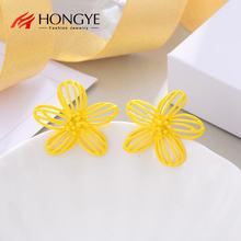 Большие серьги гвоздики hongye в богемном стиле с полыми желтыми