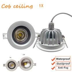 1 ピース/ロット組み込み LED 防水 Ip65 cob 天井 7 ワット 12 ワット AC85-265V 浴室キッチンホテルのシャワールーム LED ダウンライト