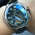 Топ люксовый бренд Tourbillon Скелет автоматические механические часы для мужчин полный календарь Луна фазы водонепроницаемые часы мужские ...