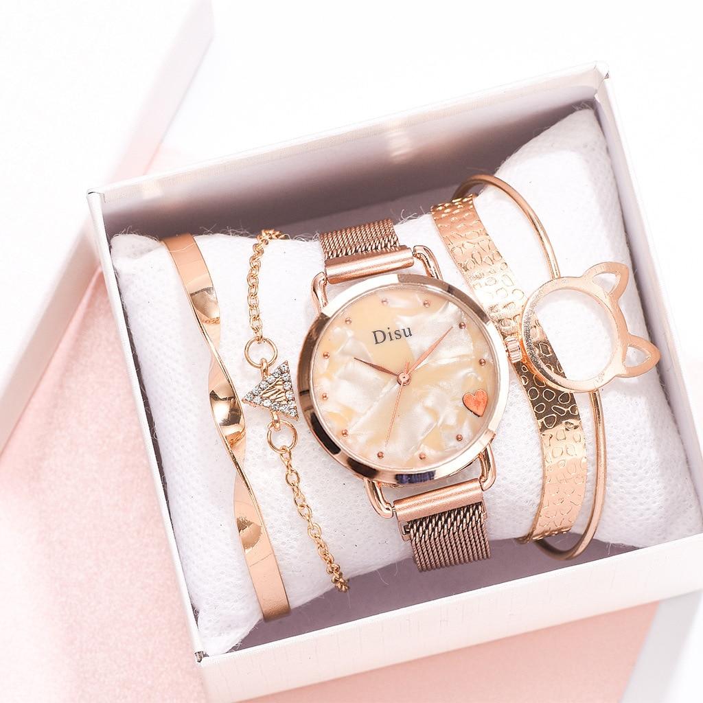 5Pcs Set Women Watches 2020 New Style Rose Gold Watches Set Luxury Quartz Female Clock Ladies Wrist Watch Relogio Feminino
