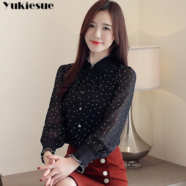 Fashion women chiffon blouse 2019 spring Long sleeve Puff blouse ruffles Chiffon lady shirt Dot pattern Lady blouse Plus size 4