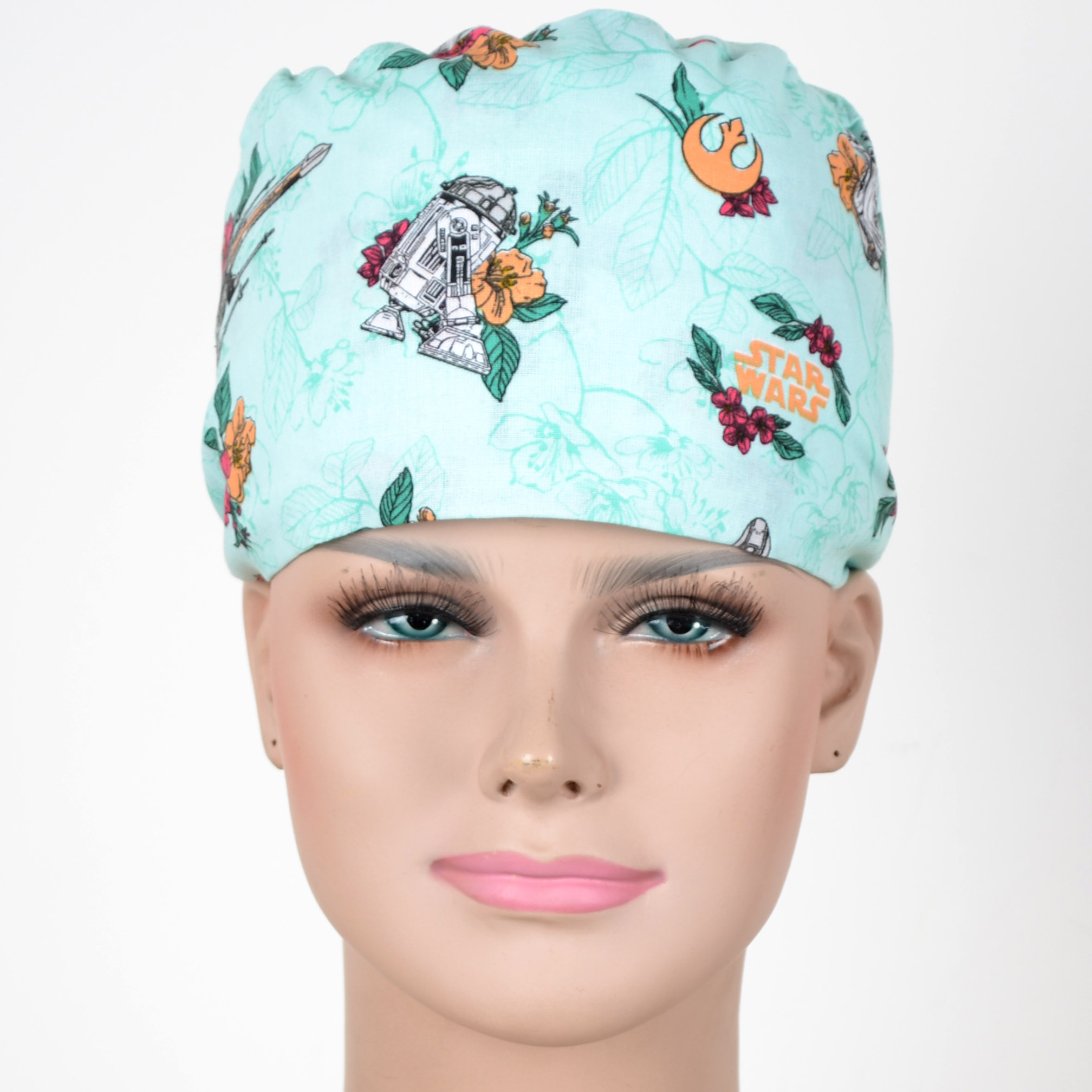 Hennar Wome Cotton Scrub Caps In Light Blue 100% Cotton  Hospital Medical Hats Print  Unisex Surgical Caps Mask