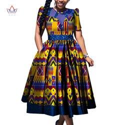 2020 nouveau Dashiki fête chaude Vestidos pour femmes coton imprimé traditionnel africain vêtements 6xl manches courtes robe mi-mollet WY6700