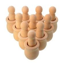 10 pçs/set De Madeira Boneca De Madeira Peg Peg De Madeira Sem Pintura Pessoas Potes de Nidificação Para DIY Artesanato Artesanato Em Madeira Tomada de Pintura Suprimentos