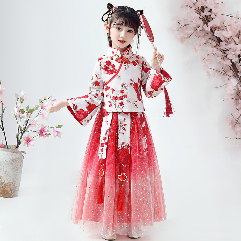 Girls Han Fu Chinese Style Flower Girl Dress Dramaturgic Robe Dress For Kids Chinese Traditional Ancient New Year Clothing