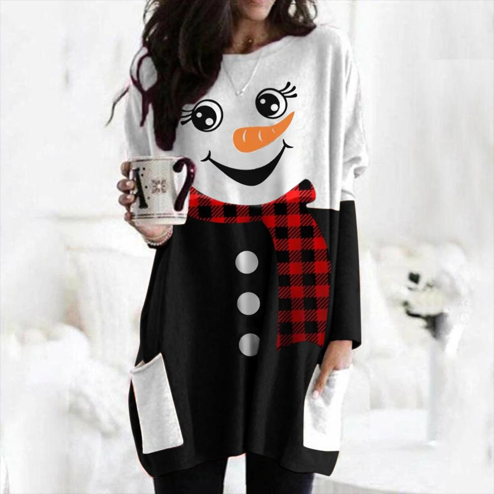 Women Christmas Printed Plaid T-Shirt Top O-Neck Tee Blusas Long Sleeve Female Elk Shirts Plus Size Christmas Woman Clothing 1