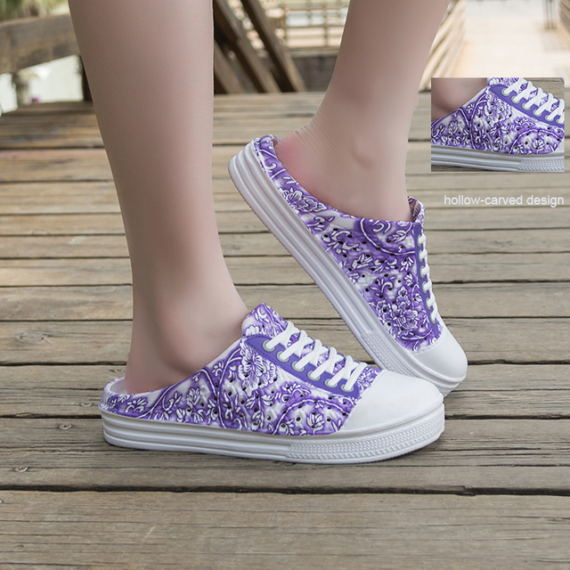 Summer Women's Slippers Flowers Print  Summer Clogs Beach Shoes Flat Hollow Out Outdoor Casual Half Slippers Slip on Sneakers 2