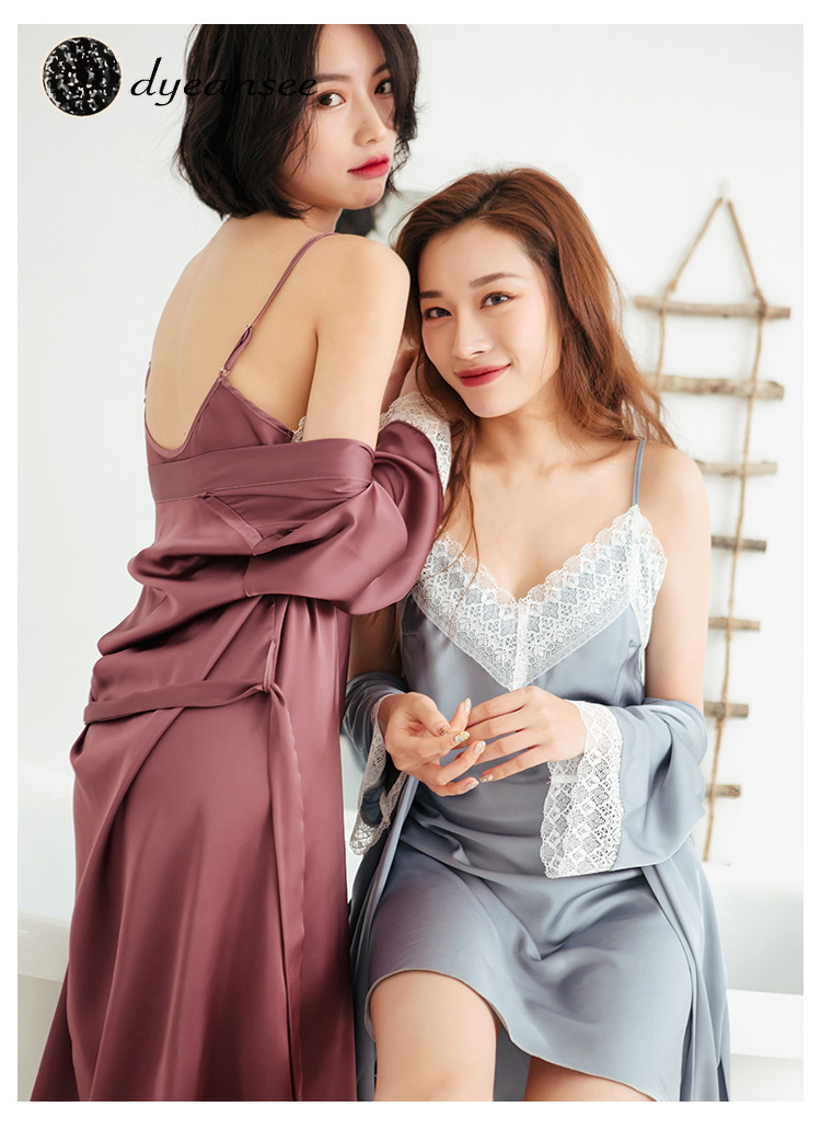 Dyeansee women's spring sexy silk suspender Nightgown two piece suit medium long long sleeve thin ice silk women's summer