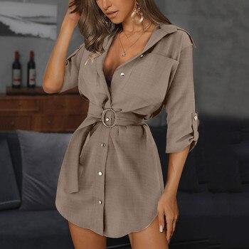 Women Autum Long Sleeve Dress OL Belt Casual Work Plain Shirt Blouse Tops vestido de mujer женское плать