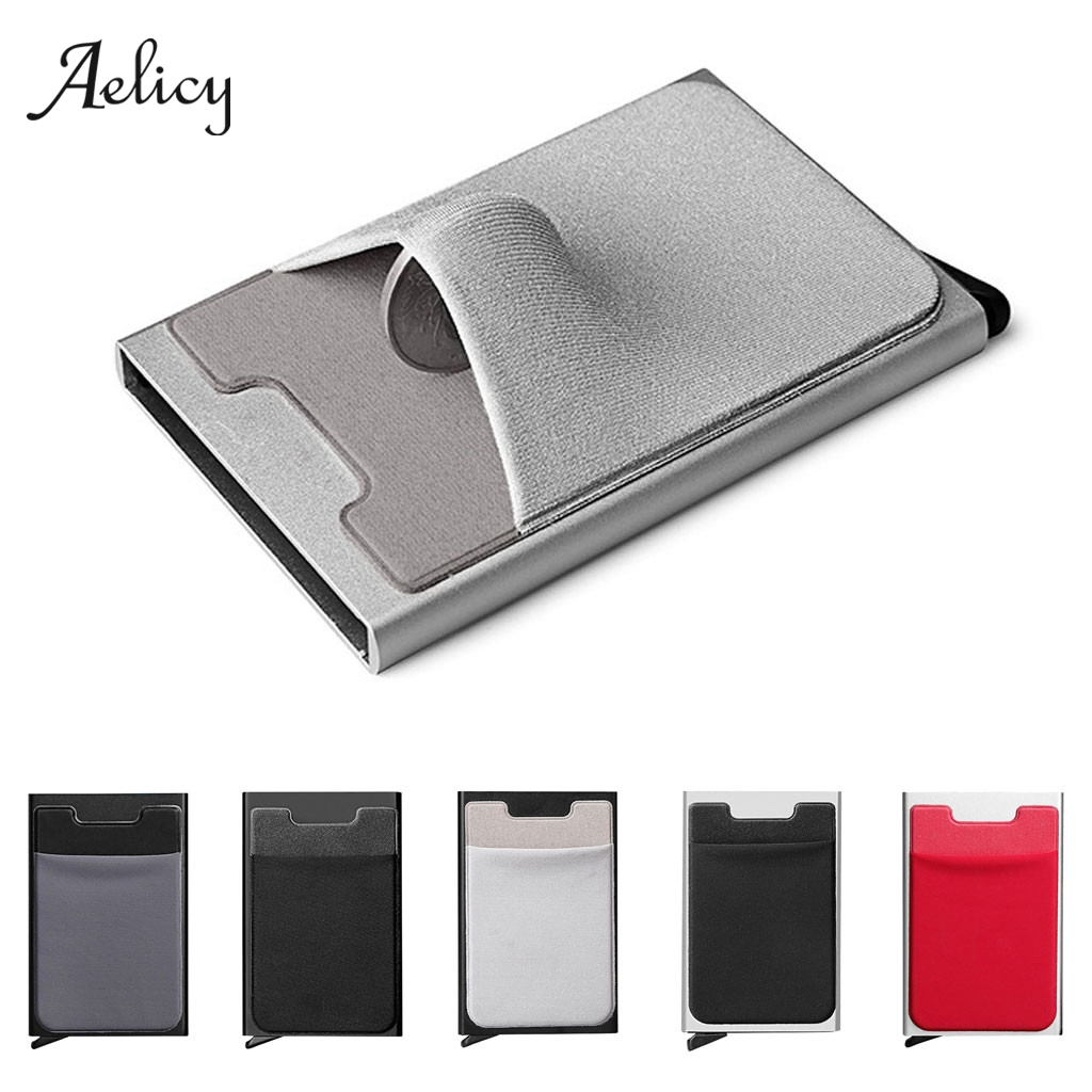 US $48.48 48% OFFAelicy High grade Aluminum Multi card Holder Solid Color  Automatic Pop up Anti theft Bank Card Box Mini Business Card CaseCard & ID