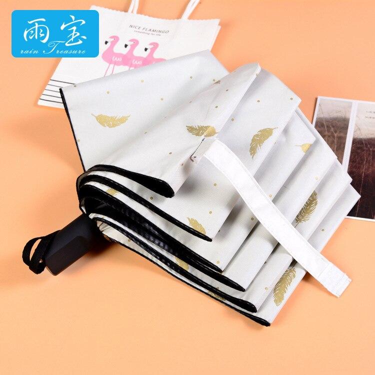 Yu Bao Umbrella Vinyl Sun-resistant Creative Bronze Umbrella Rain Or Shine Dual Purpose Three-fold Umbrella Parasol Customizable