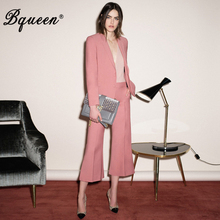 Bqueen Fashion V-Neck Sexy Business Pant Suits Set Blazers F