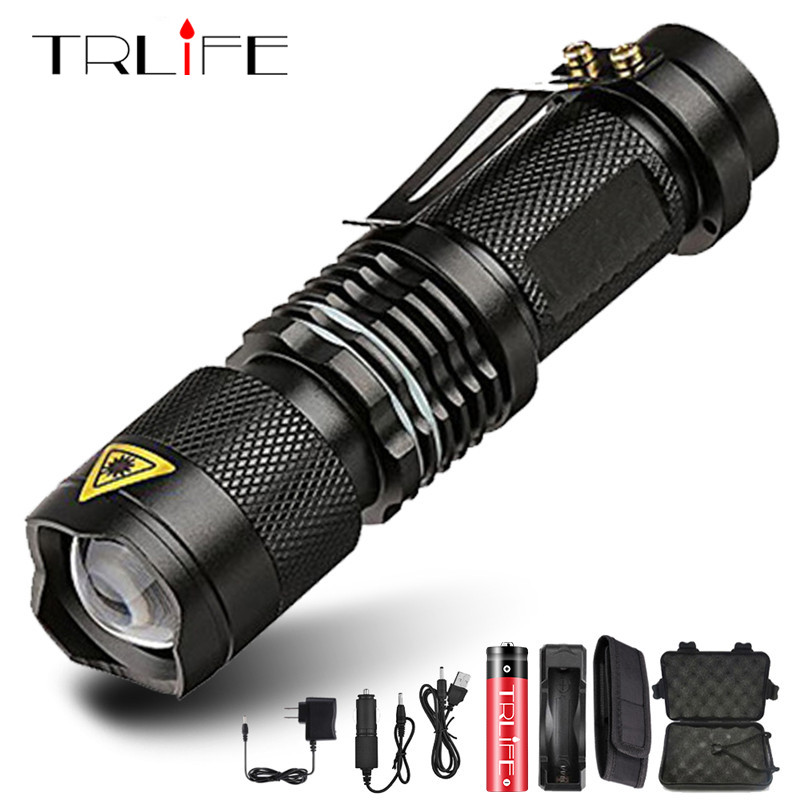 Super Bright Mini LED Flashlight Zoom T6 Led Lamp Bead Torch 5 Mode Camping Lamp Waterproof Use 18650 Rechargeable Battery