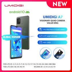 UMIDIGI A7 смартфон глобальная версия Android 10 OS 6,49 ''большой полноэкранный 4 Гб 64 Гб ROM четырехъядерный процессор телефоны