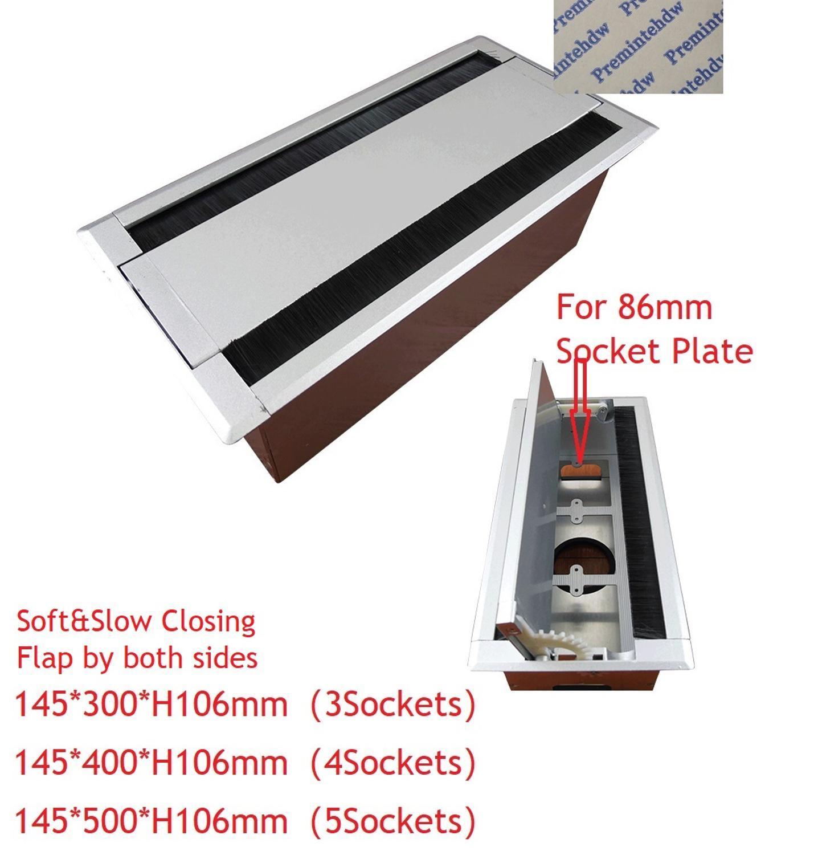 Rabat de roue dentée à fermeture douce Rectangle en aluminium Double face câble passe-fil boîte bureau Table multimédia USB 86mm prise