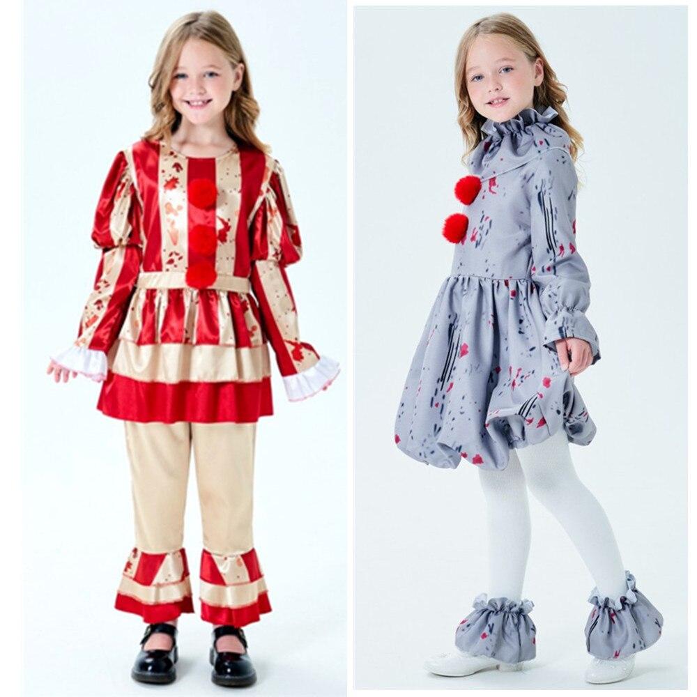 Ragazze dei bambini di Halloween Costumi di Gioco per i bambini Circo Clown Pennywise Cosplay Ragazze buffo Burlone di Carnevale Per Bambini vestito