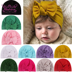 Nishine Cotton Newborn Baby Girls Hats Solid Color Bowknot Turban Beanie Infant Cap Children Bonnet Birthday Gifts Photo Props
