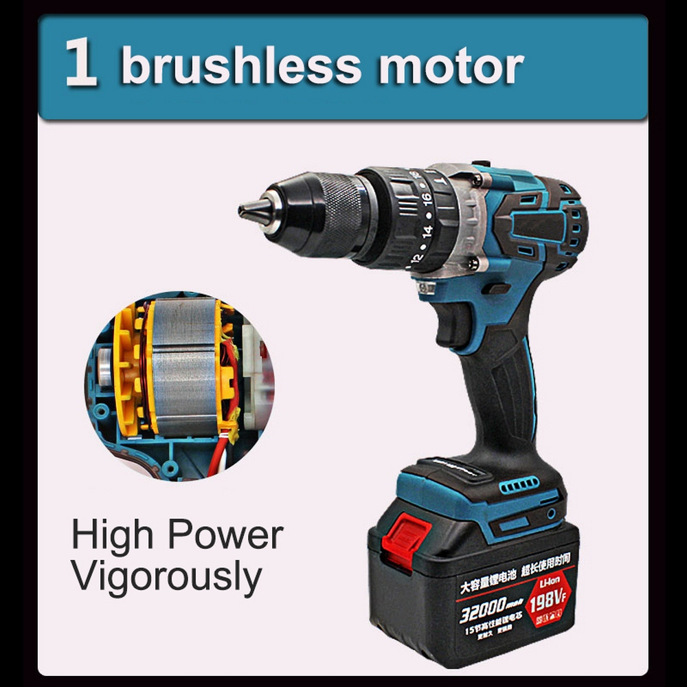198VF Brushless Electric Wrench Impact Wrench Socket 21V Lithium Battery Hand Drill Installation Power Tools with LED Lighting
