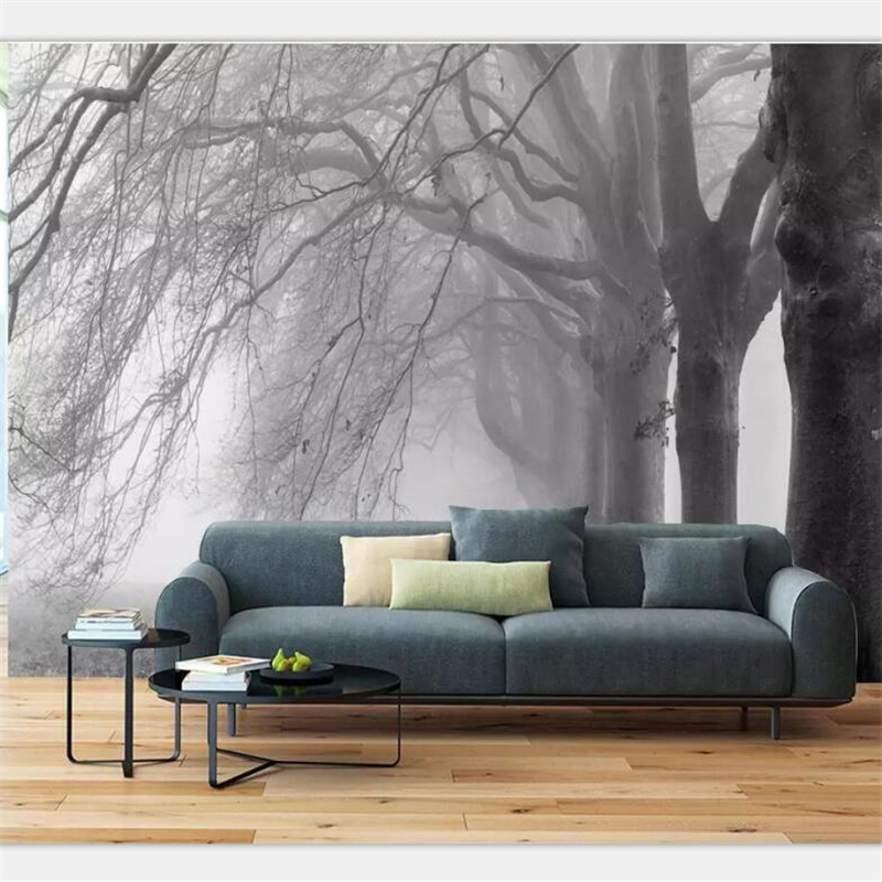 Custom Wallpaper 3d living room bedroom mural black and white abstract tree decoration TV background wall Restaurant hotel обои