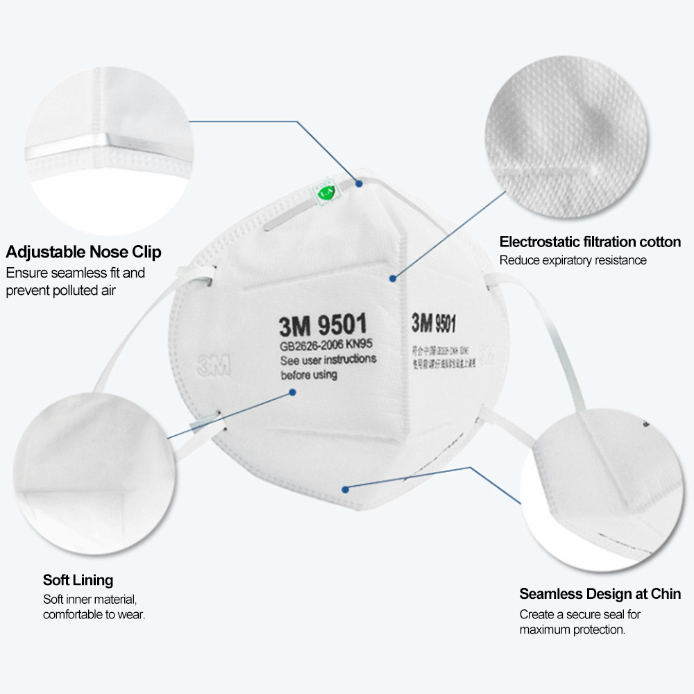 4pcs 3M 9501 Protective Masks for Virus Protection Suitable for Influenza and Pollutant 8