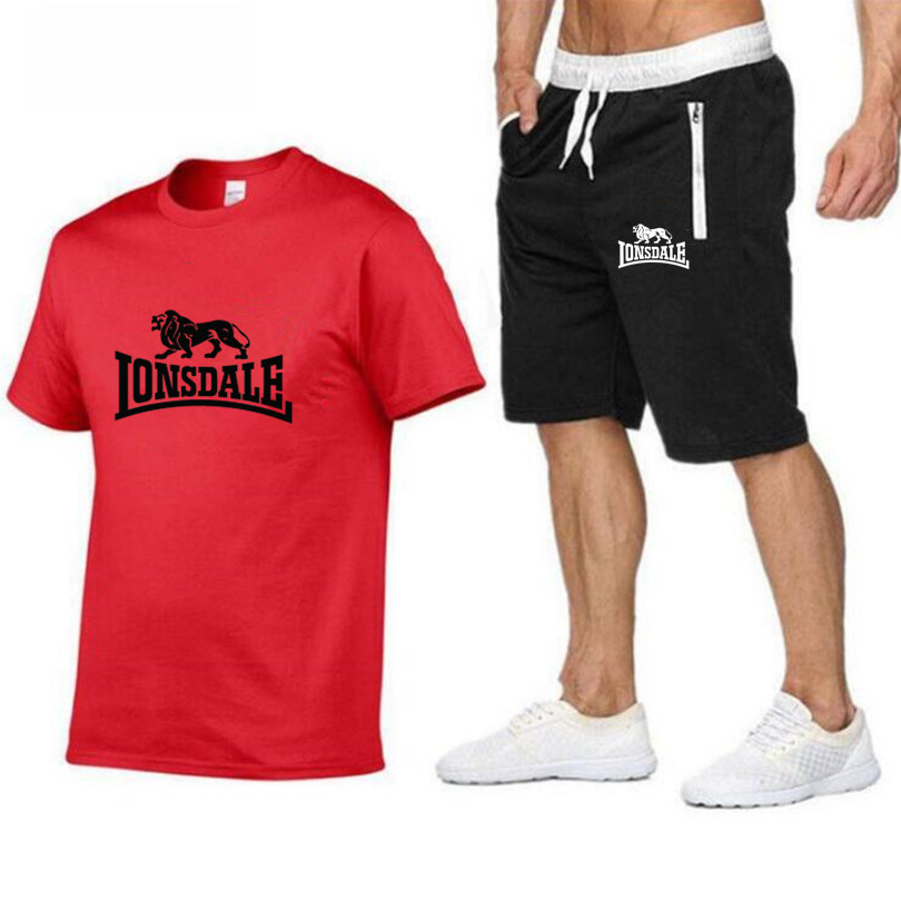 Summer New Men's Hot Sale 100% Cotton T-shirt + Shorts Casual Suit Men's Sports Fashion Running Explosion Casual Sportswear Suit