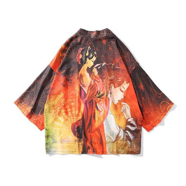 Japanese Kimonos Shirts 2020 Plus Size Streerwear Cranes Yukata Women Haori Harajuku Kimono Cardigan Men Female Asian Clothes