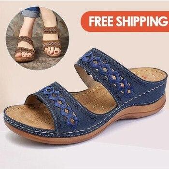 Las mujeres sandalias con taco chino de moda Zapatos para mujeres Zapatillas Zapatos de verano zapatos con tacones sandalias, Flip Flops Playa de las mujeres zapatos casuales zapatos