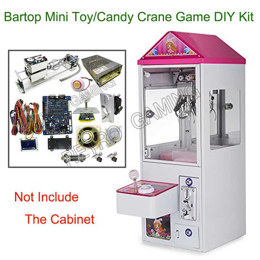 Mini Toy Claw Crane Game Machine DIY Kit With Motherboard 25.7cm Gantry Power Supply Joystick LED Buttons Coin Acceptor