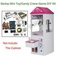 Mini juguete garra grúa juego máquina DIY Kit con placa base 25,7 cm Gantry fuente de alimentación Joystick LED botones moneda aceptador