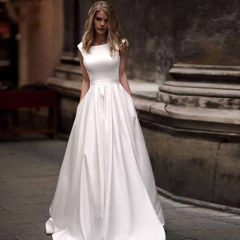 Off Shoulder Plus Size White Satin Simple Wedding Dresses 2020 Scoop Neck Vestido De Noiva  Bridal Gowns  For Bride  Custom Made