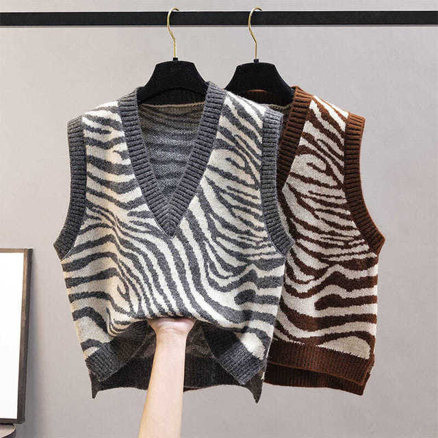 Women Waistcoat Sweater Vest Fashion Zebra Pattern Knitted Sweaters Pullover V Neck Autumn Winter Warm Tops Loose Woman Clothes 5