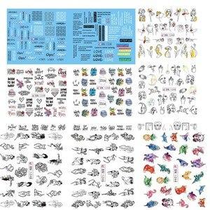 Image 2 - Büyük (1 takım = 11 sayfa) BLE488 498 karikatür prenses Nail Art su transferi çıkartmalar folyo filigran çıkartmaları DIY güzellik tırnak malzemeleri