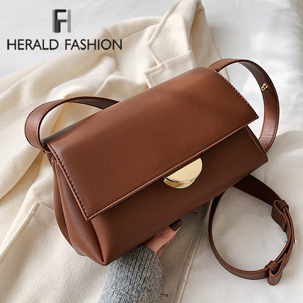 Lady Solid Color PU Leather Crossbody Bags For Women 2020 Fashion Simple Shoulder Messenger Bag Travel Female Casual Handbags