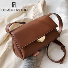 Lady Solid Color PU Leather Crossbody Bags For Women 2020 Fashion Simple Shoulde