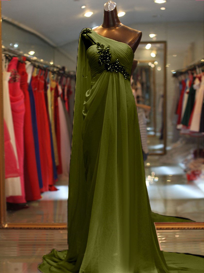 Vestido de noite simples um ombro sem mangas com miçangas/cristal vestidos de festa de noite vestidos de fiesta robe de soiree - 6