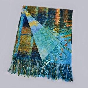Image 2 - [BYSIFA] כחול חורף צעיפי צעיפי אופנה Utralong קשמיר פשמינה מודפס 200*70cm גבירותיי צוואר צעיף חיג אב echarpes chales