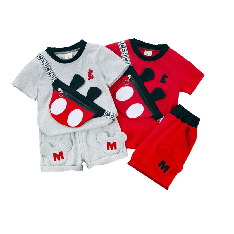 2020 Summer Mickey Baby Girls Clothes Sport  Children Suits Baby Boy Clothing Sets T Shirt+short Pants 2pcs Outfits Kids Set