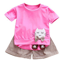 Neue Sommer Kinder Sets Mädchen Nette Cartoon Katze Druck Oansatz Kurzarm Tops + Plaid Shorts Casual Outfits Set ropa de niño(China)