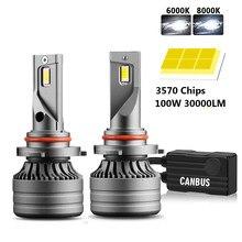 2Pcs H4 LED Headlight 100W 30000LM Canbus H7 H1 H8 H9 H11 LED 9005 HB3 9006 HB4 Car Light Headlight Turbo Fog Lamp 6000K 12V