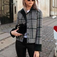 Simplee Faux fur patchwork plaid coat mujer Otoño Invierno botones furry Chaquetas cortas femeninas Chic streetwear señoras abrigos calientes