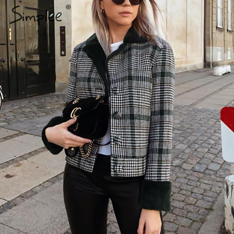 Simplee Faux Fur Patchwork Plaid Coat Women Autumn Winter Buttons Furry Female Short Jackets Chic Streetwear Ladies Warm Coats