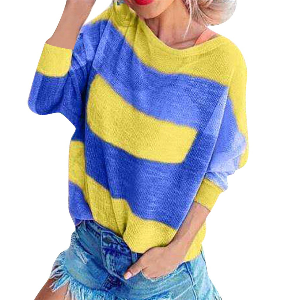 Jaycosin Clothes Autumn Fashion Women's stripe Patchwork O-Neck Long Sleeve sweater woman Casual sweater pullover Tops Blouse