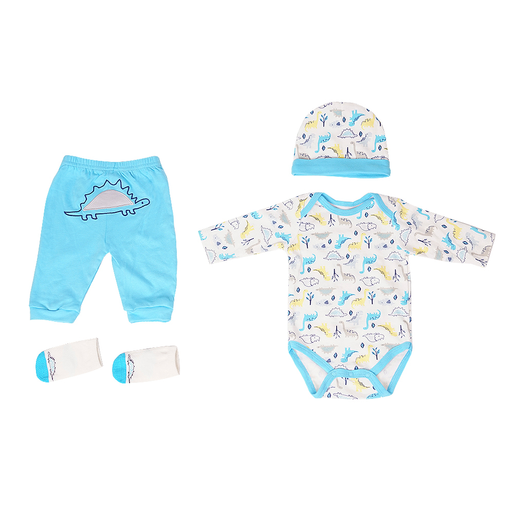 Reborn Baby Doll Accessories Outfits Clothes Set for 55 60cm Newborn Boy Cute Cartoon Printed Clothes