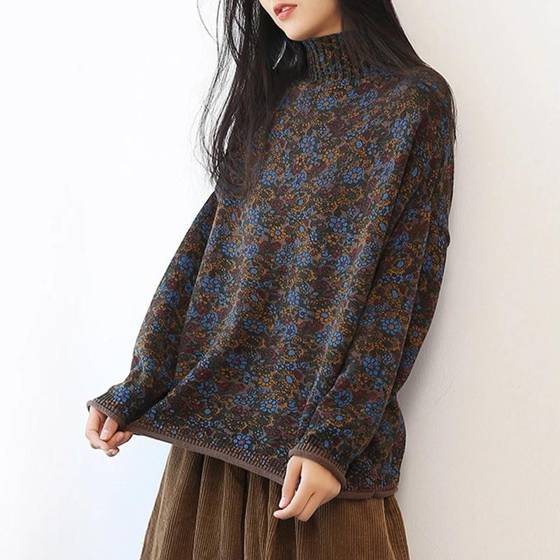 Женский винтажный свитер с высоким воротом Johnature, вязаный хлопковый свободный свитер с цветочным принтом и длинным рукавом, осень 2020