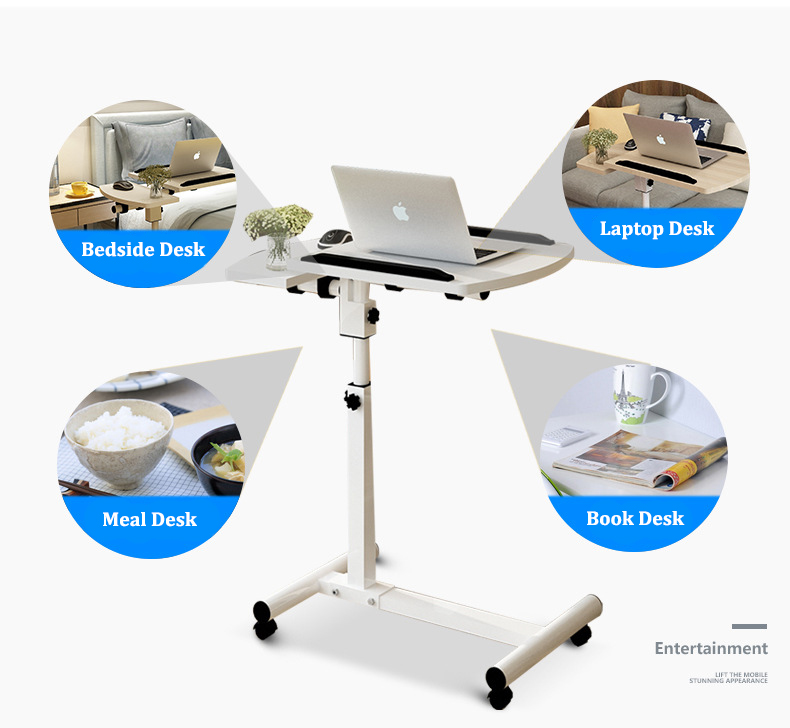 Foldable Laptop Stand with Rotating Wheels and Side Space for Keyboard and Mouse 8