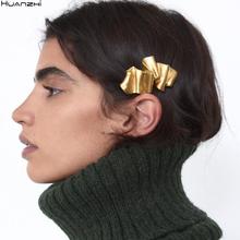 HUANZHI 2020 Metal geometryczny prostokąt złoty matowy wielowarstwowe krotnie Barrette przesada włosów akcesoria klips dla kobiet dziewczyna tanie tanio CN (pochodzenie) Miedziane moda Spinki do włosów Kobiety TRENDY GEOMETRIC