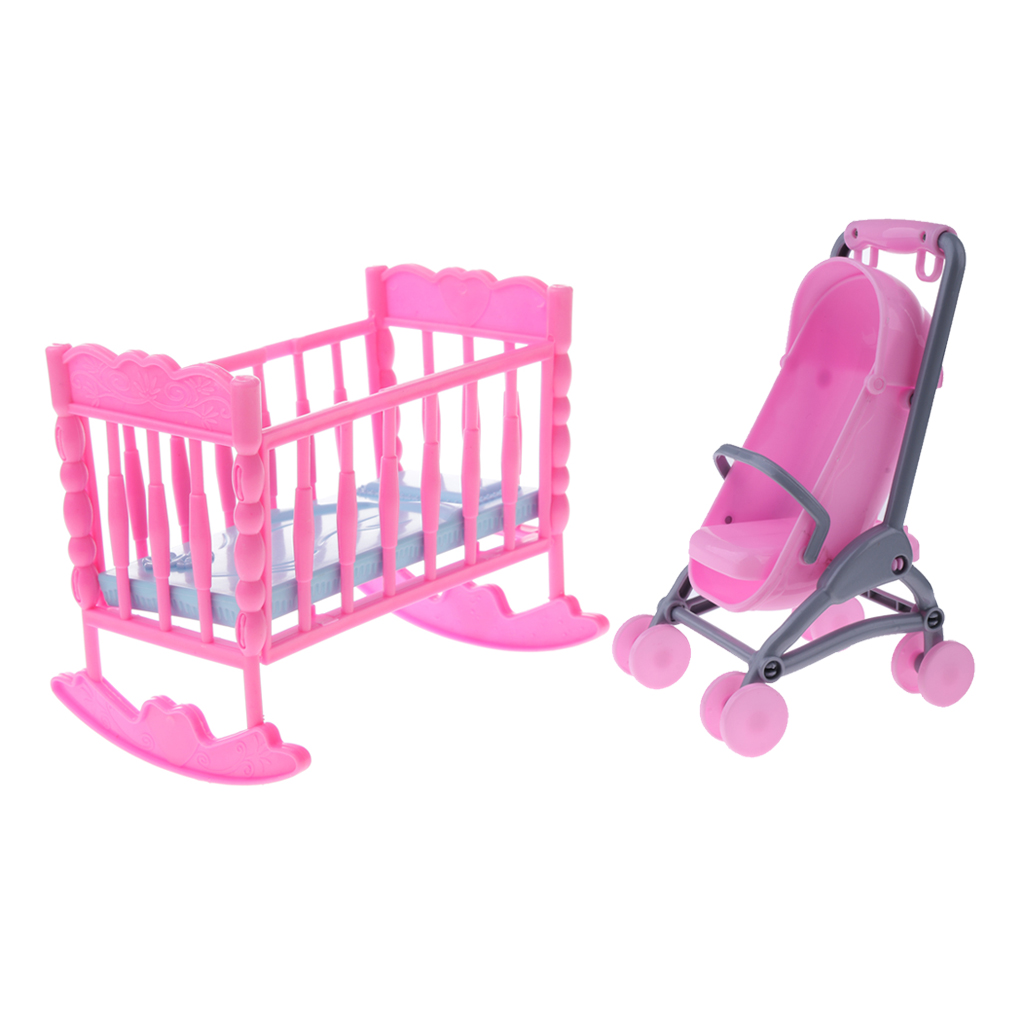 1/6 Pink Baby Cradle Bed + Stroller Model Dollhouse Miniature Furniture Toy For Blythe Dolls Accessory