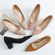 Туфли лодочки женские на высоком квадратном каблуке, с острым носком