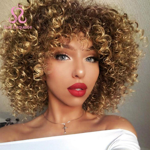 SUe EXQUISITE 14 cali Afro peruka z kręconych włosów typu Kinky syntetyczne krótkie peruka z grzywką mieszane brązowy i blond peruka dla czarnych kobiet
